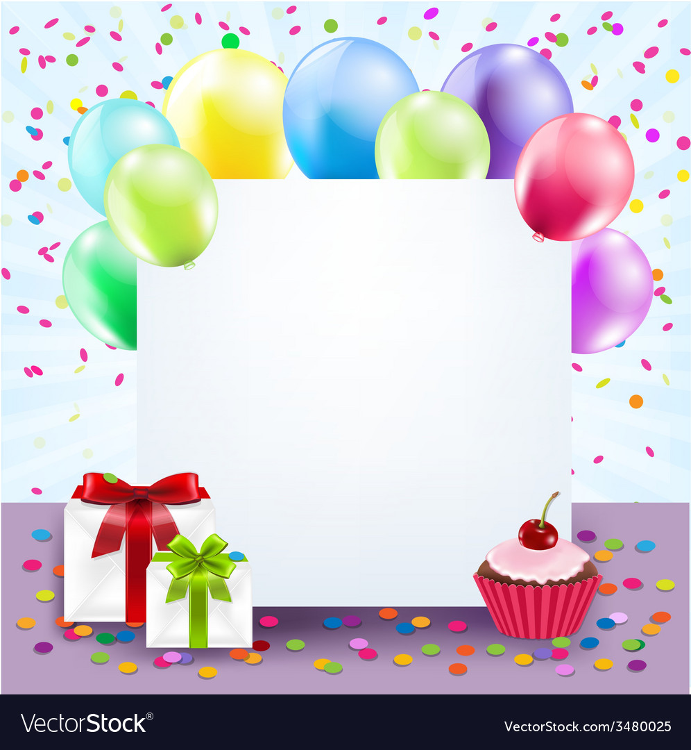 Colorful birthday card vector | Price: 1 Credit (USD $1)