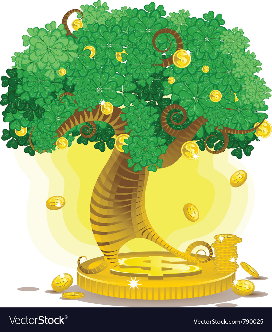 Gold money tree vector | Price: 3 Credit (USD $3)