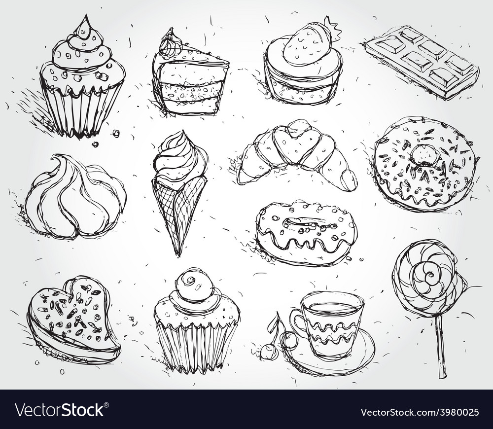 Hand drawn confectionery set croissant cupcake vector | Price: 1 Credit (USD $1)