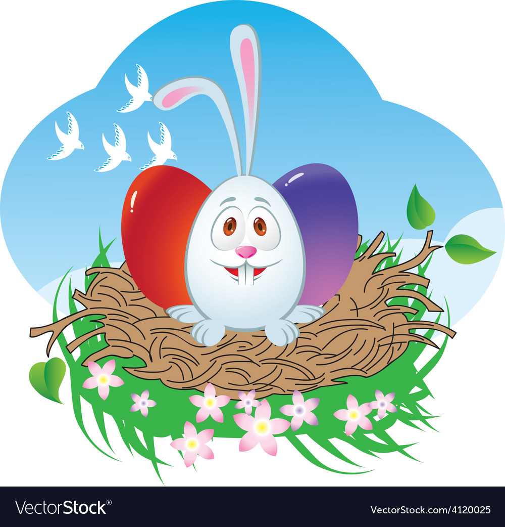 Nest easter bunny vector | Price: 1 Credit (USD $1)