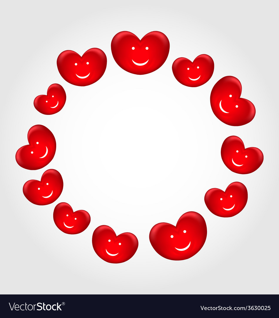 Round frame made in smiling hearts for valentines vector | Price: 1 Credit (USD $1)