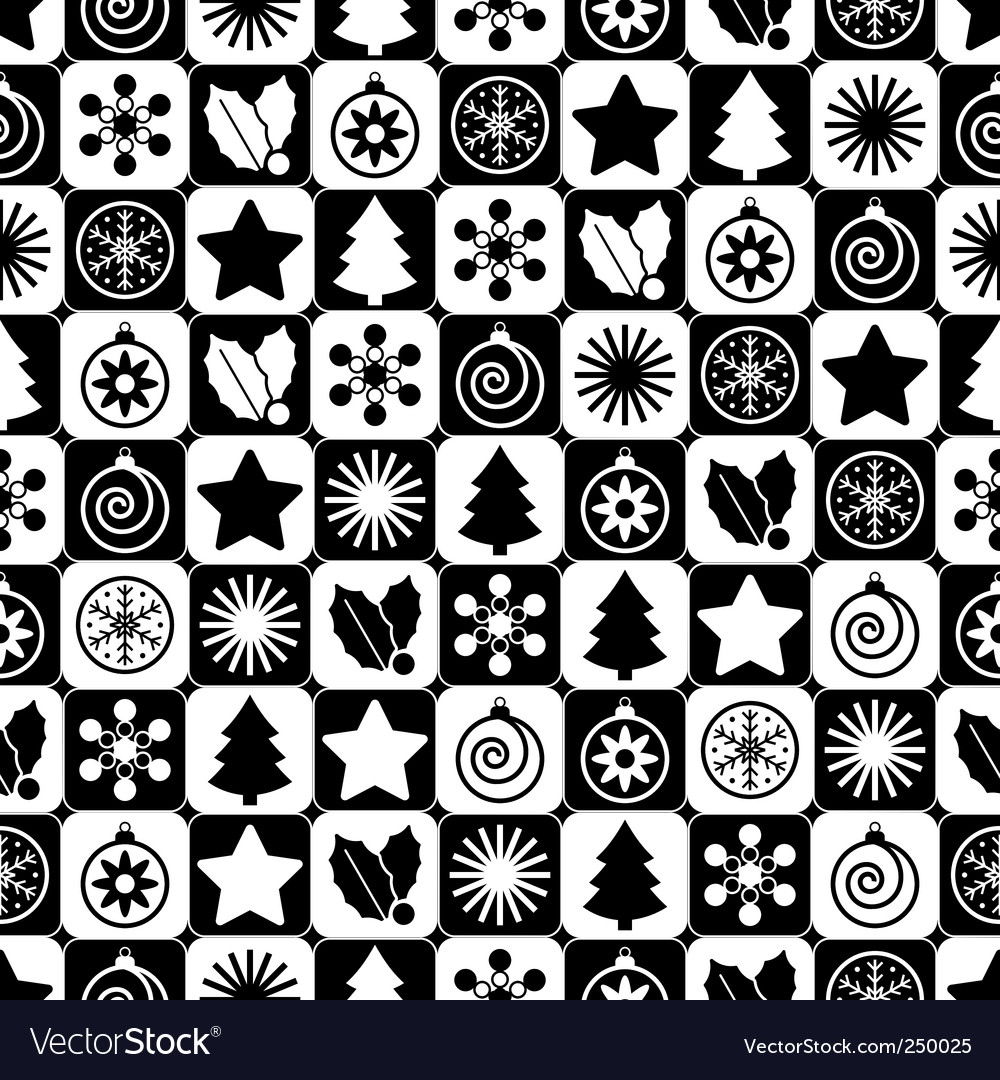 Seamless black and white christmas vector | Price: 1 Credit (USD $1)