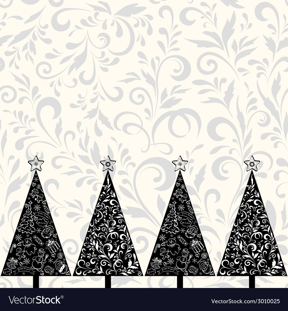 Seamless pattern with christmas trees vector | Price: 1 Credit (USD $1)
