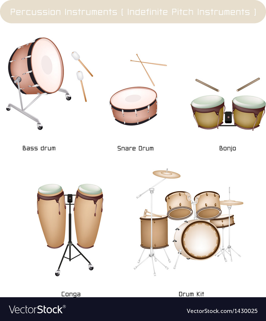 Set of drum instruments with drumsticks vector | Price: 1 Credit (USD $1)