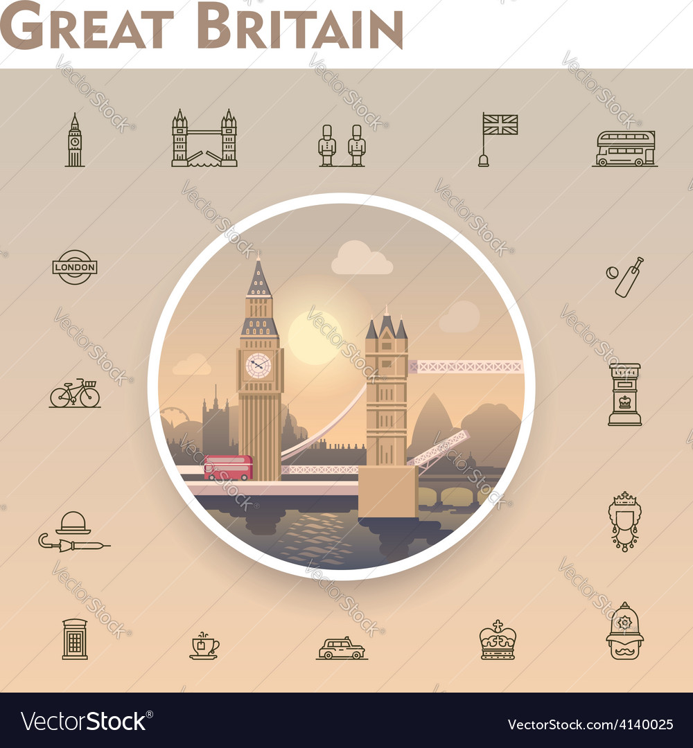 United kingdom travel icon set vector | Price: 3 Credit (USD $3)