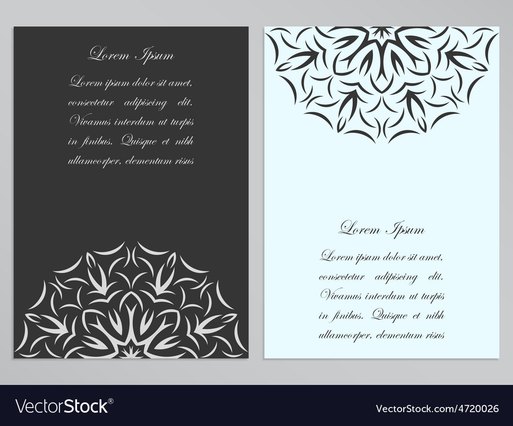 Black and white flyers with ornate flower pattern vector | Price: 1 Credit (USD $1)