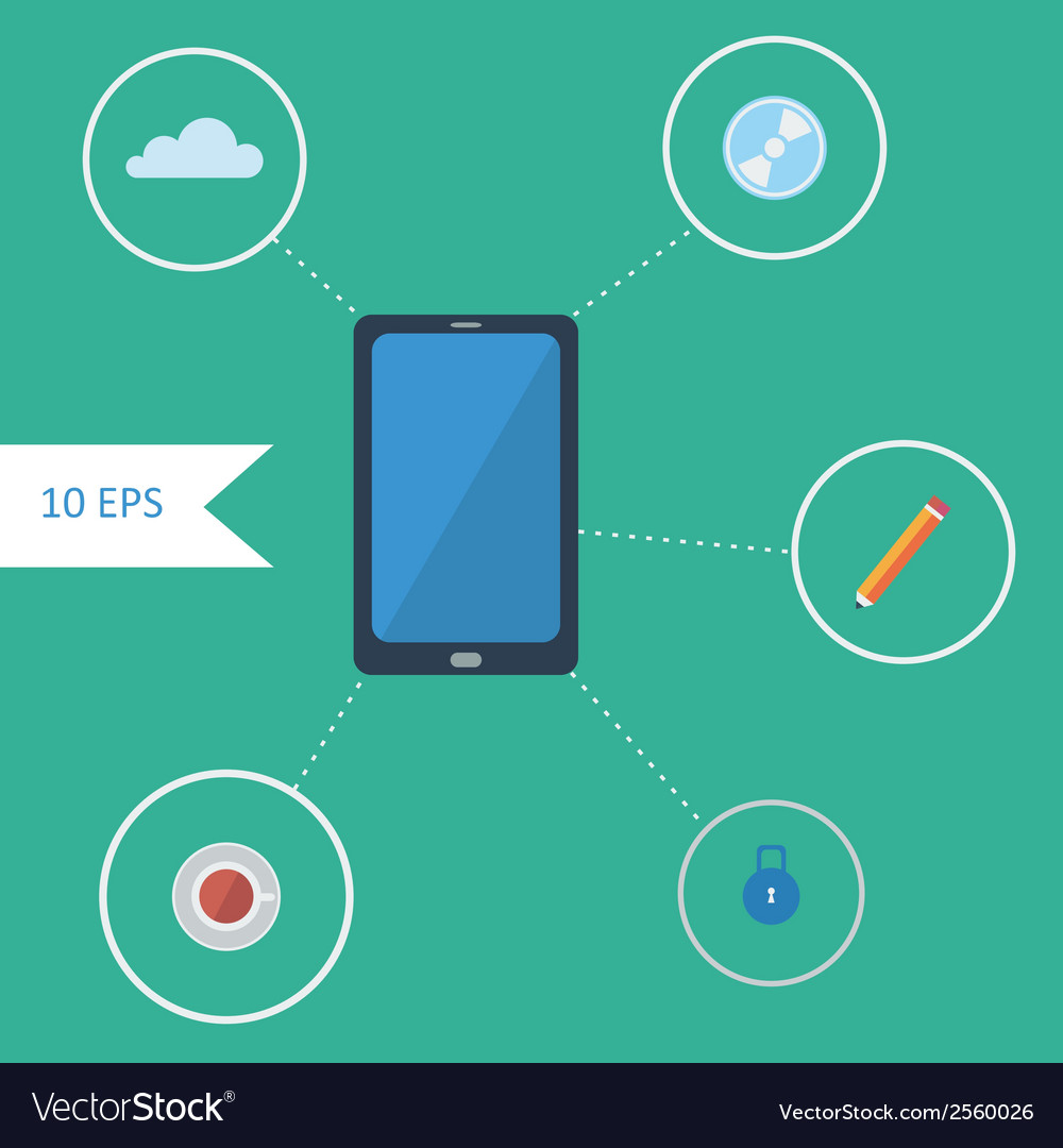 Flat design infographics with smartphone vector | Price: 1 Credit (USD $1)