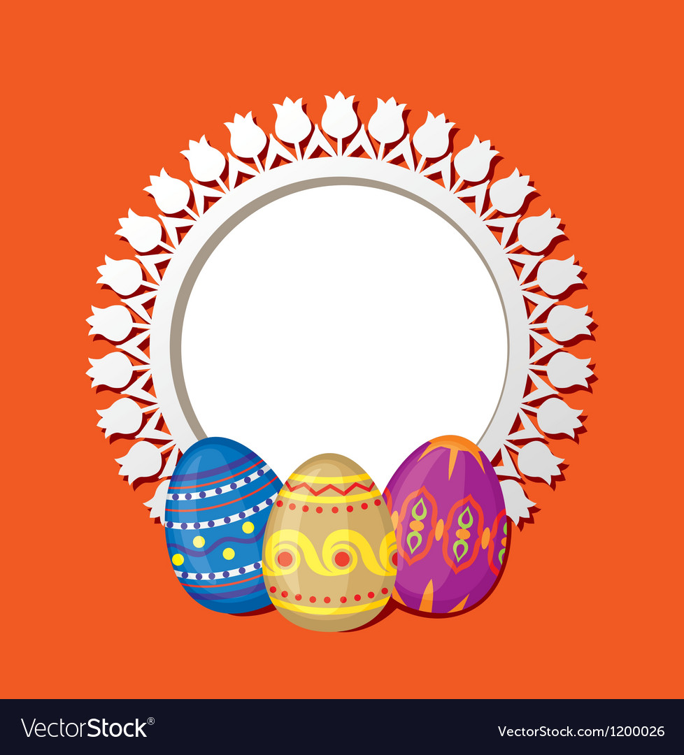 Frame with easter eggs vector | Price: 1 Credit (USD $1)