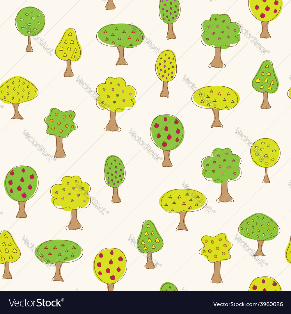 Fruit garden trees vector | Price: 1 Credit (USD $1)