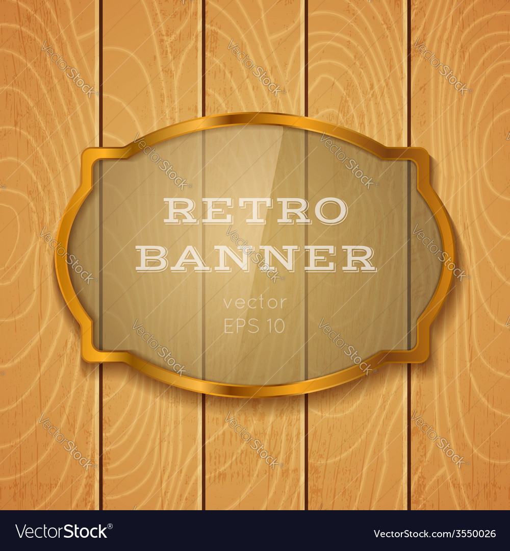 Glass banner on light wooden background vector | Price: 1 Credit (USD $1)