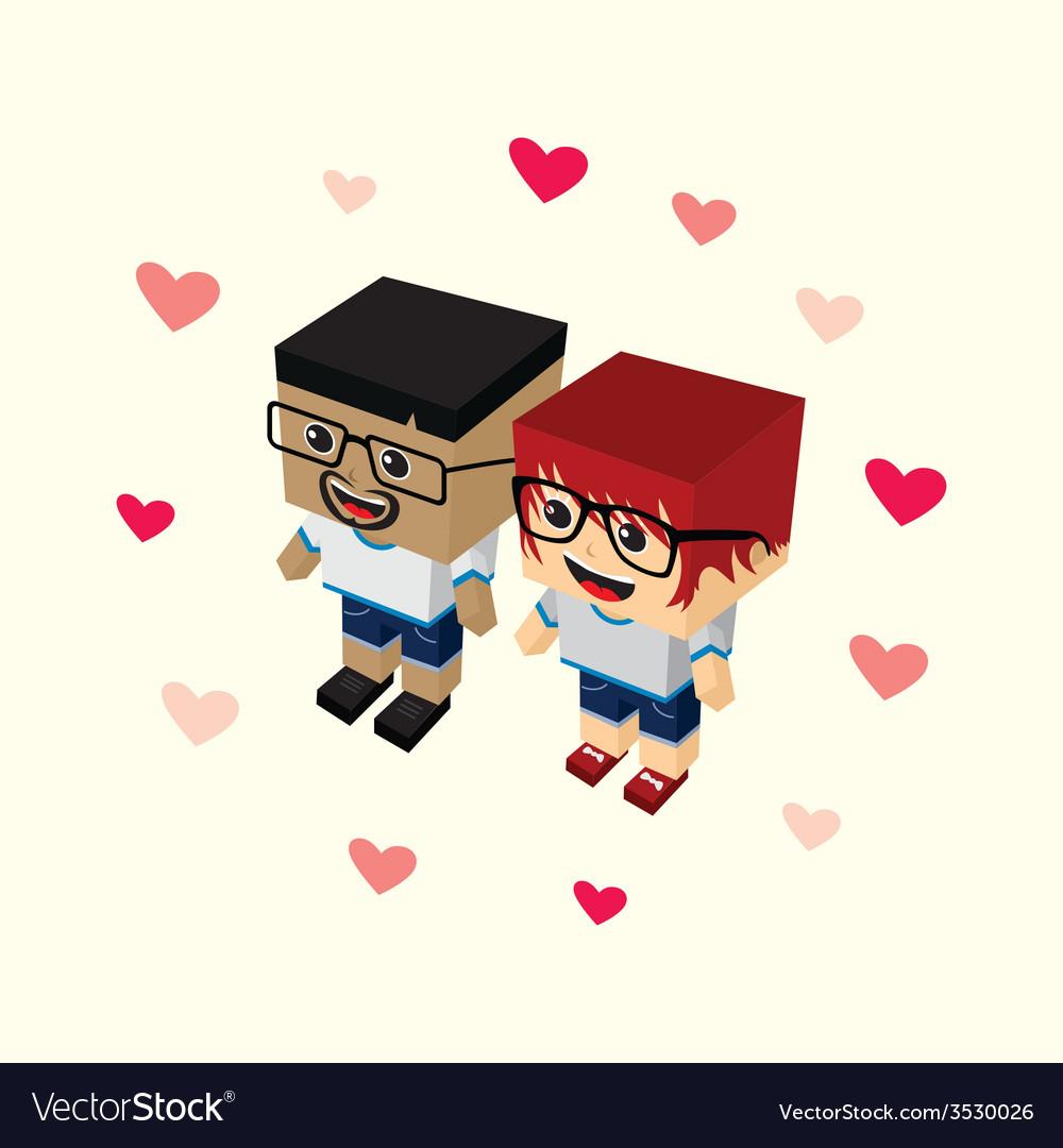 Love couple block isometric cartoon character vector | Price: 1 Credit (USD $1)