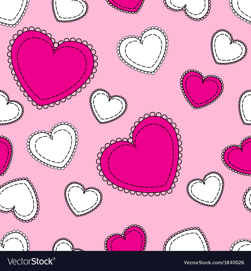 Seamless pink background with hearts vector | Price: 1 Credit (USD $1)