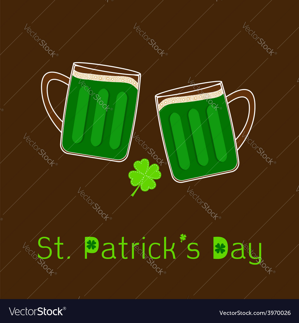 St patricks day two clink green beer glasses vector | Price: 1 Credit (USD $1)