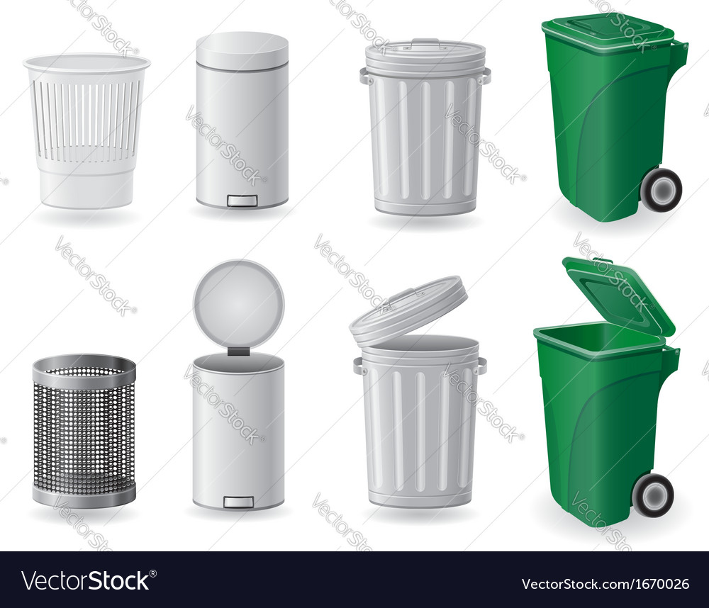 Trash can and dustbin set icons vector | Price: 3 Credit (USD $3)