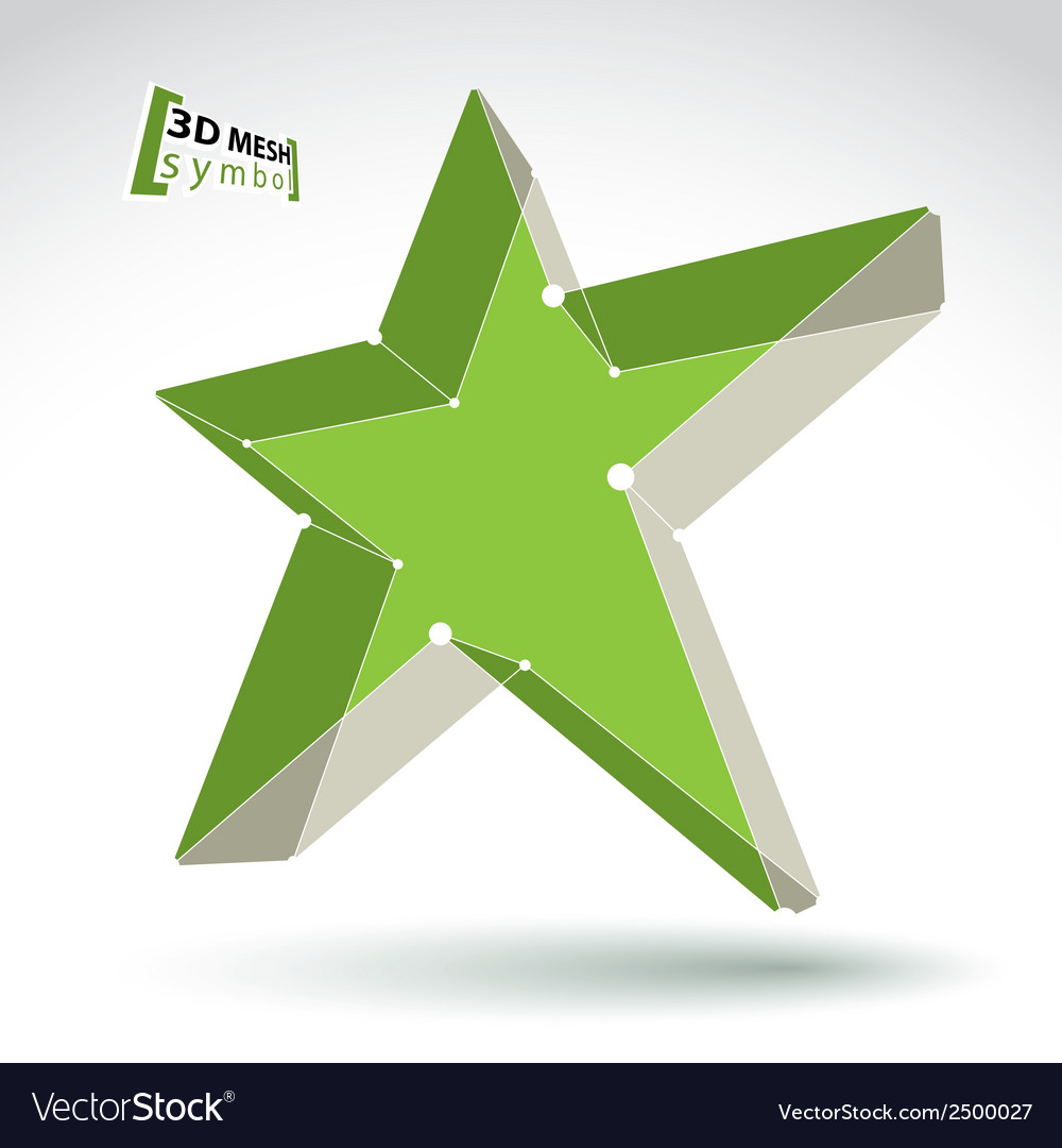 3d mesh green star sign isolated on white vector | Price: 1 Credit (USD $1)