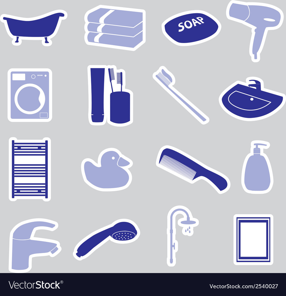 Bathroom stickers set eps10 vector | Price: 1 Credit (USD $1)