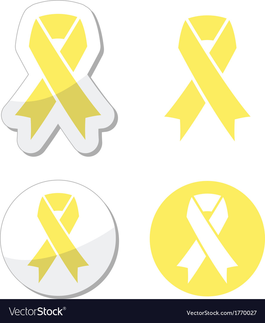 Pale yellow ribbon -ymbol of spina bifida vector | Price: 1 Credit (USD $1)