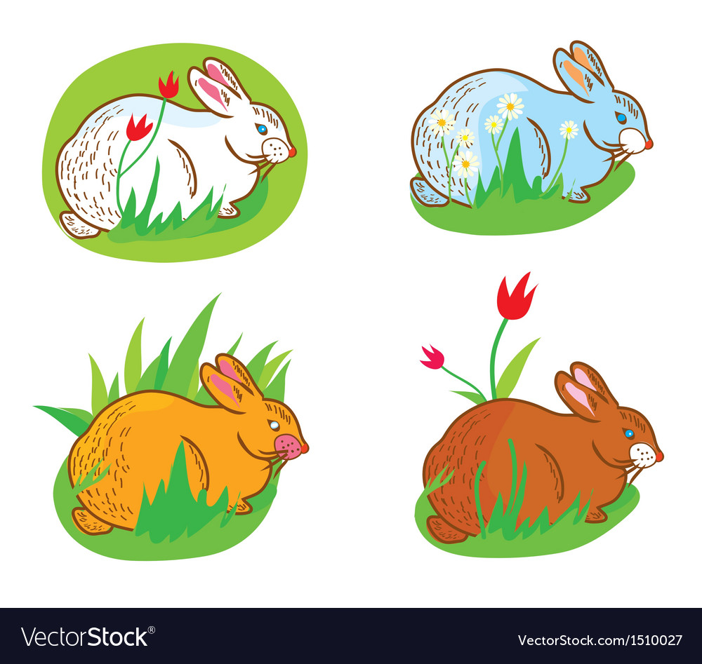 Rabbit in the grass vector | Price: 1 Credit (USD $1)