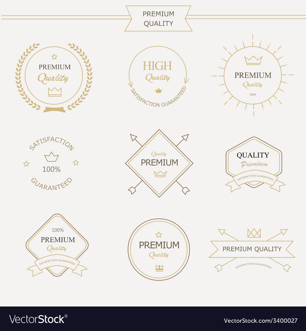 Set of premium quality labels and badges vector | Price: 1 Credit (USD $1)
