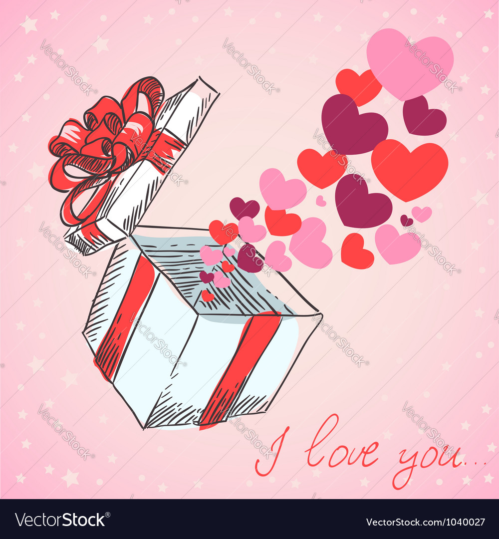Valentines hearts fly out of the gift box vector | Price: 1 Credit (USD $1)