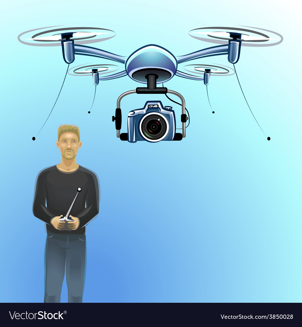 A man operating a drone vector | Price: 3 Credit (USD $3)