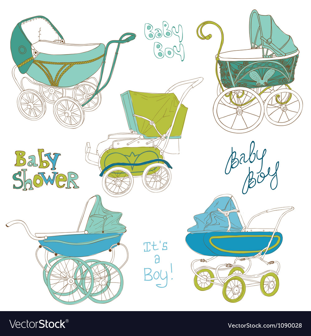 Baby carriage set vector | Price: 3 Credit (USD $3)