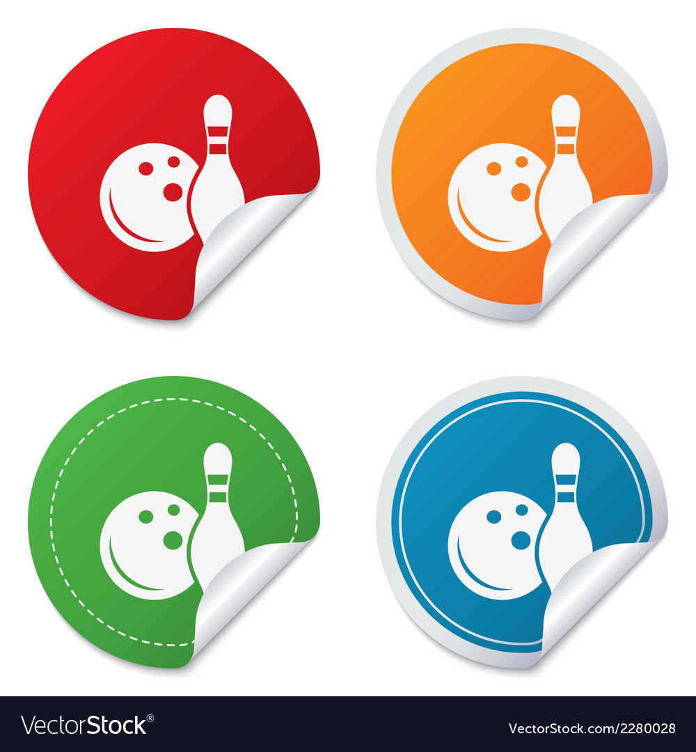 Bowling game sign icon ball with pin skittle vector | Price: 1 Credit (USD $1)