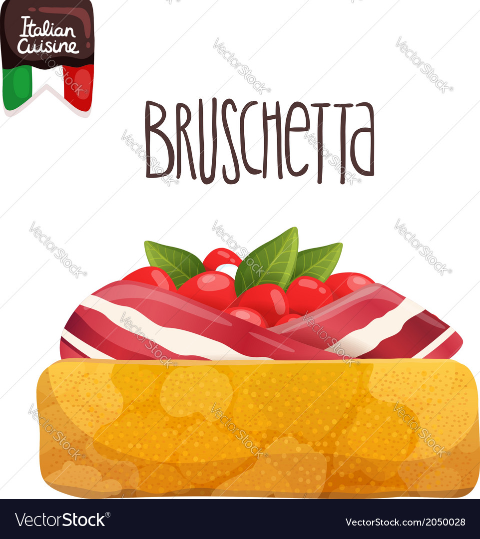 Bruschetta with tomato bacon and basil vector | Price: 1 Credit (USD $1)