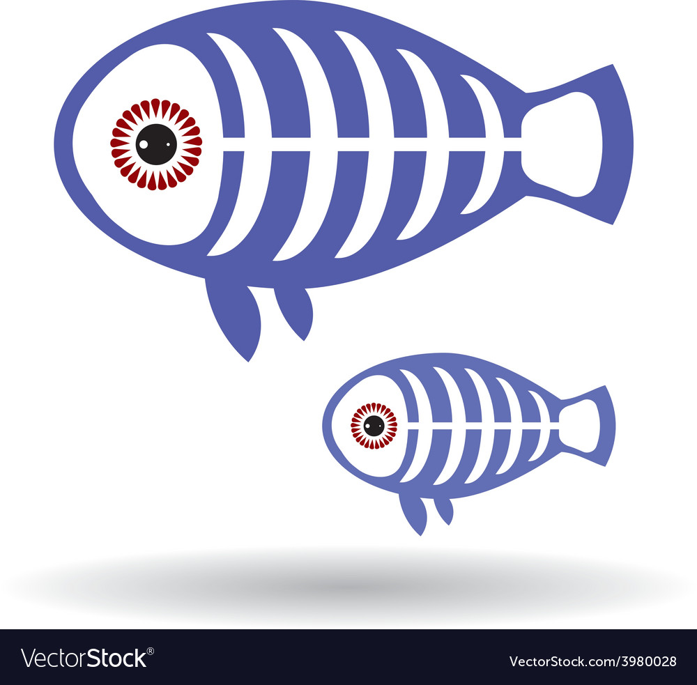 Funny x-ray fish on a white background vector | Price: 1 Credit (USD $1)