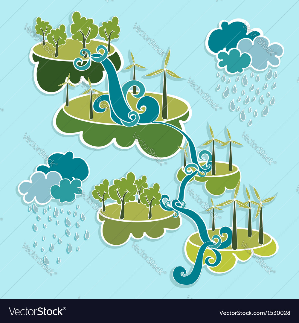 Green city eco friendly power elements vector | Price: 1 Credit (USD $1)