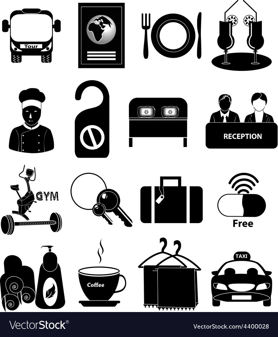 Hotel travel icons set vector | Price: 1 Credit (USD $1)