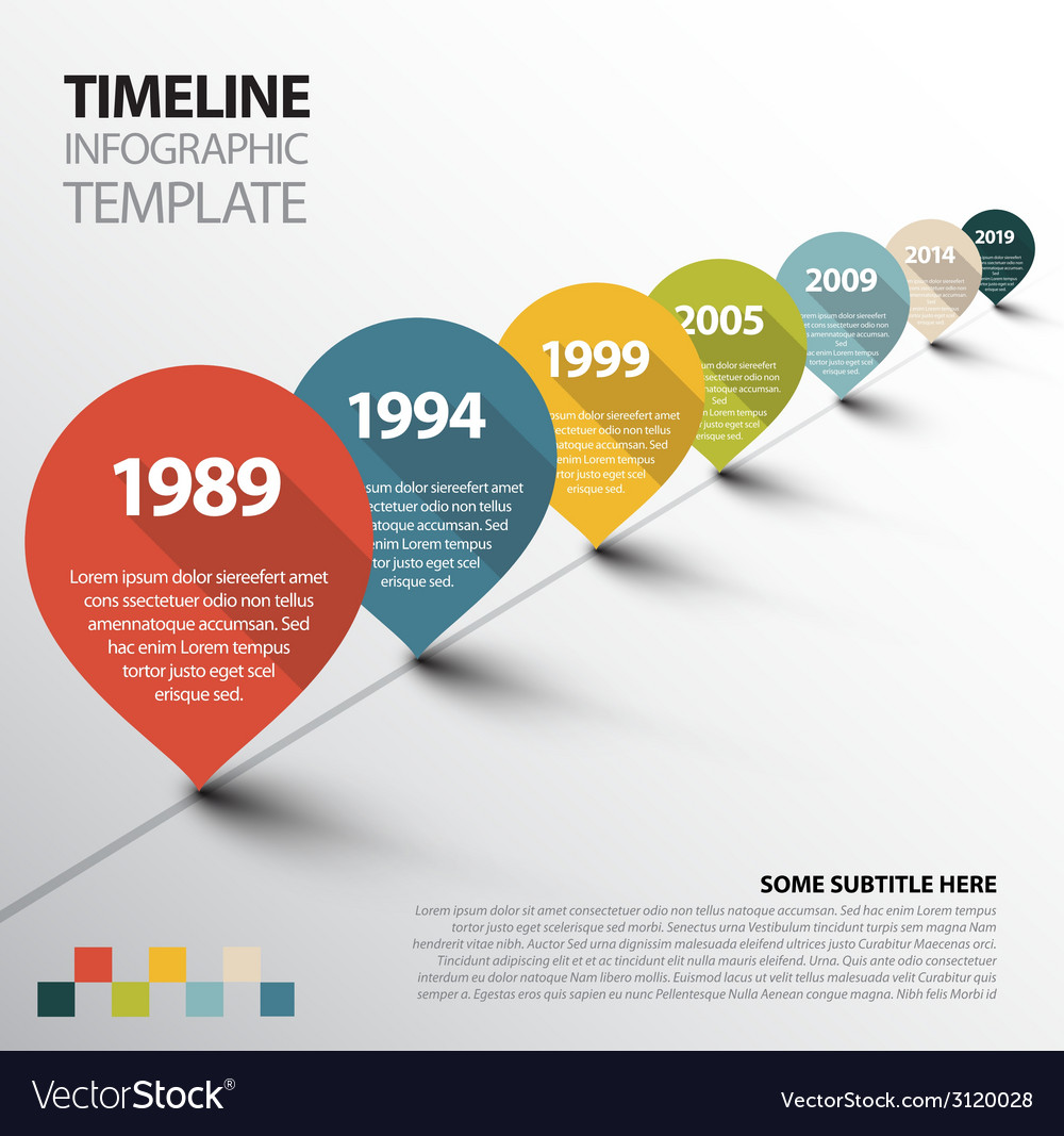 Infographic timeline template with pointers vector | Price: 1 Credit (USD $1)