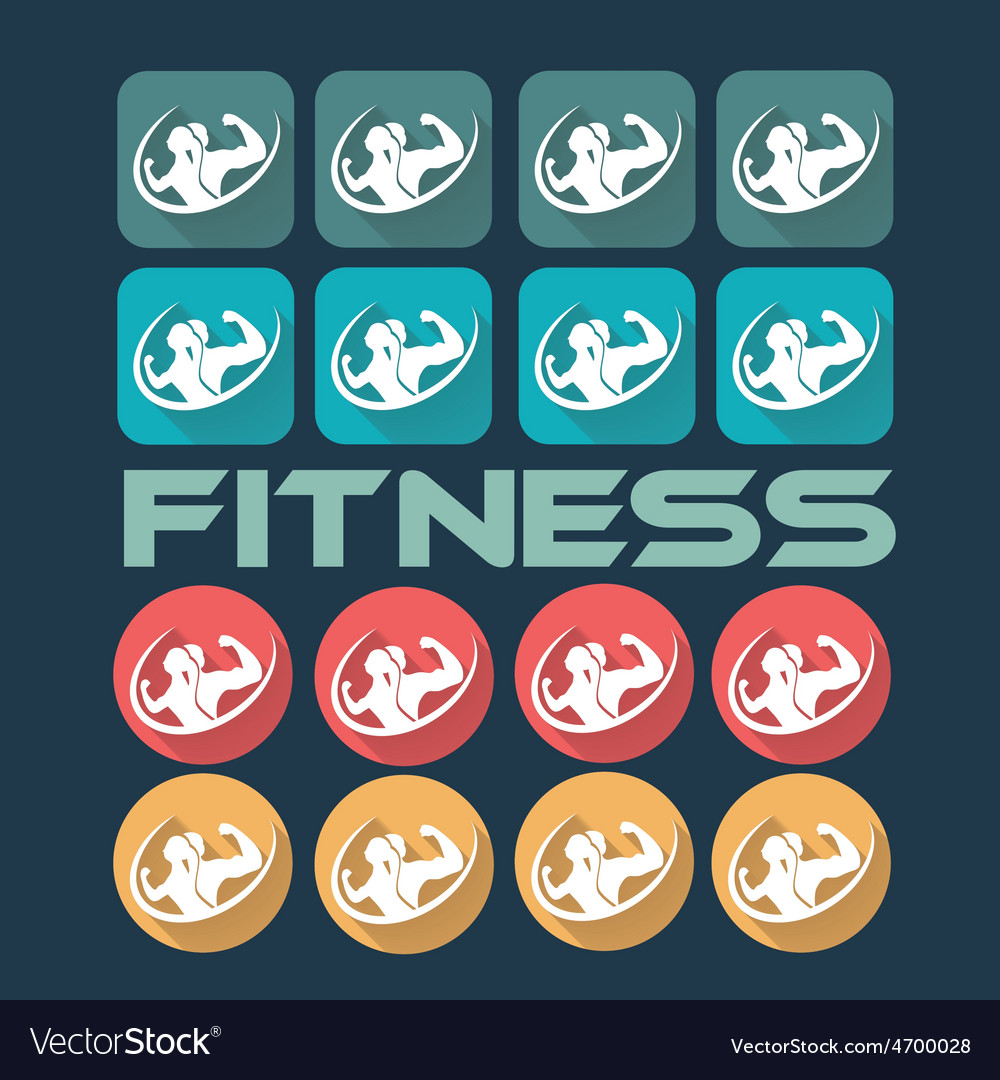 Man and woman of fitness silhouette character flat vector | Price: 1 Credit (USD $1)