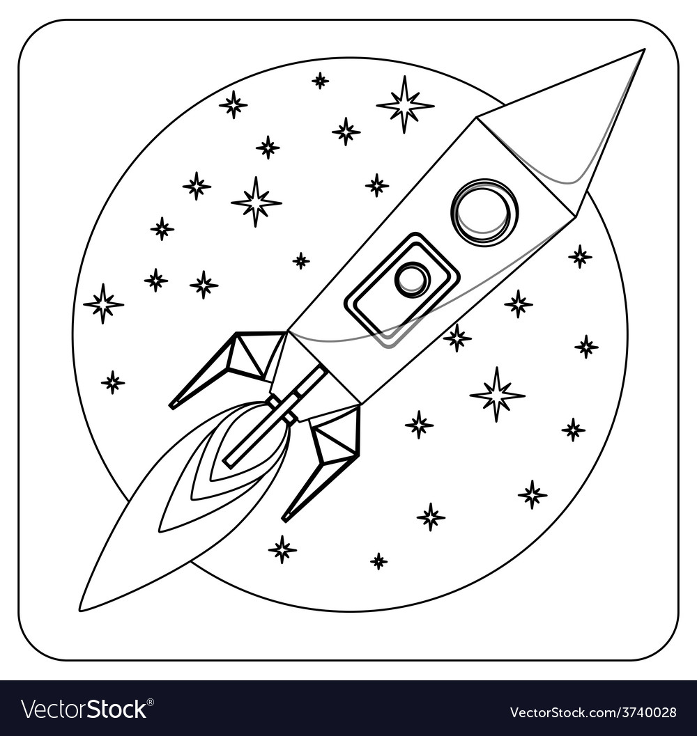 Missile in flight colorless coloring vector | Price: 1 Credit (USD $1)