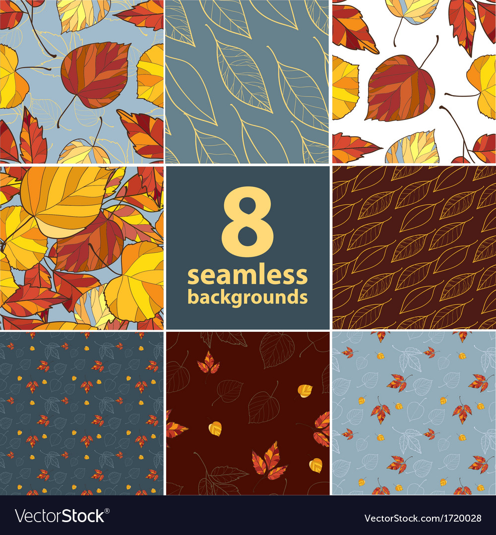 Set of eight autumn leaves backgrounds vector | Price: 1 Credit (USD $1)
