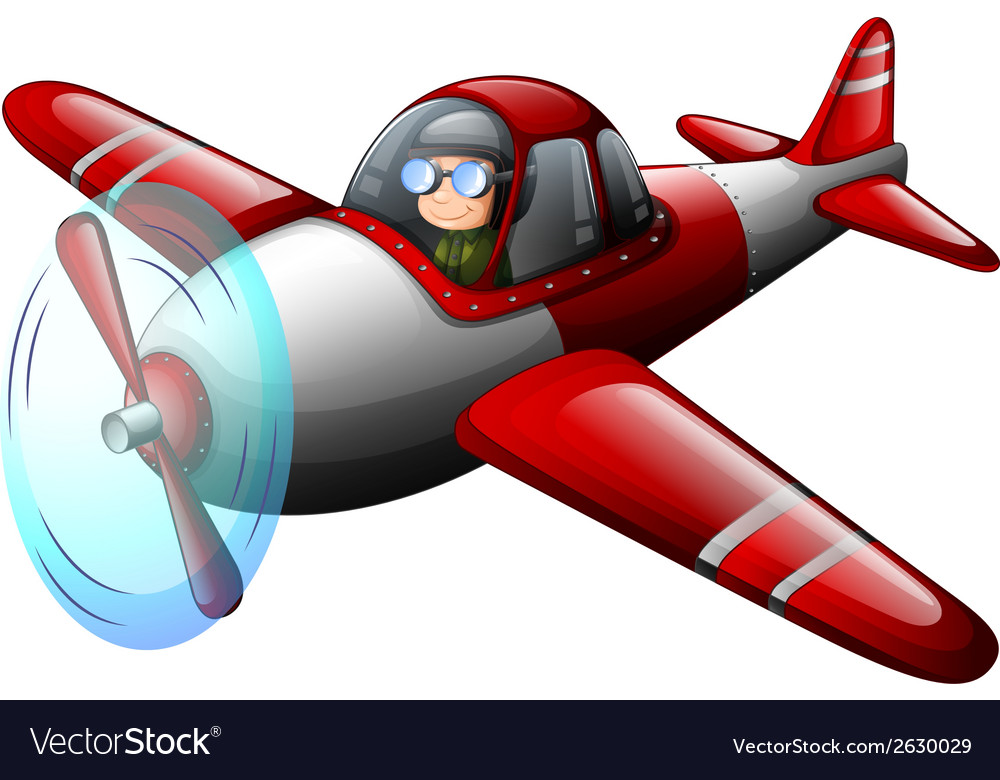 A red vintage plane with a pilot vector | Price: 1 Credit (USD $1)