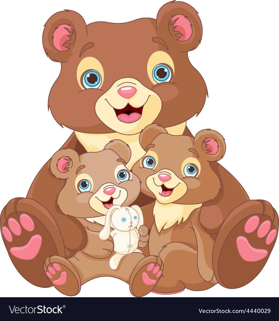 Bear family vector | Price: 3 Credit (USD $3)