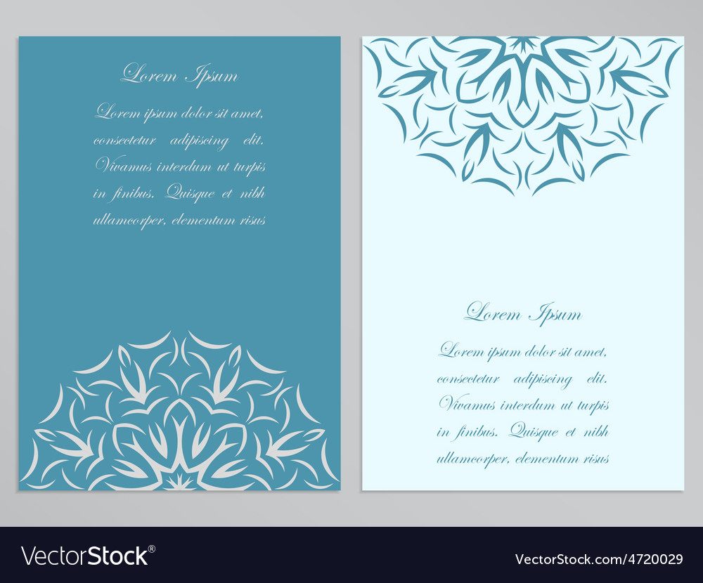 Blue and white flyers with ornate flower pattern vector | Price: 1 Credit (USD $1)