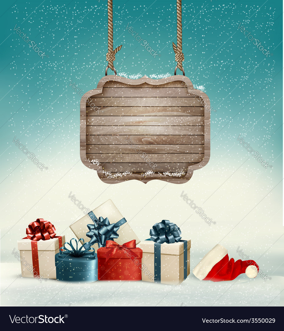 Christmas background with a retro wooden sign and vector | Price: 3 Credit (USD $3)