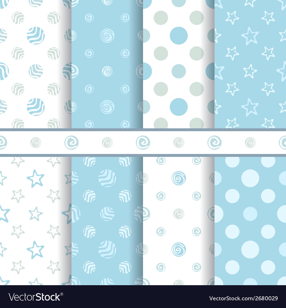 Cute baby patterns set - seamless boy blue texture vector | Price: 1 Credit (USD $1)