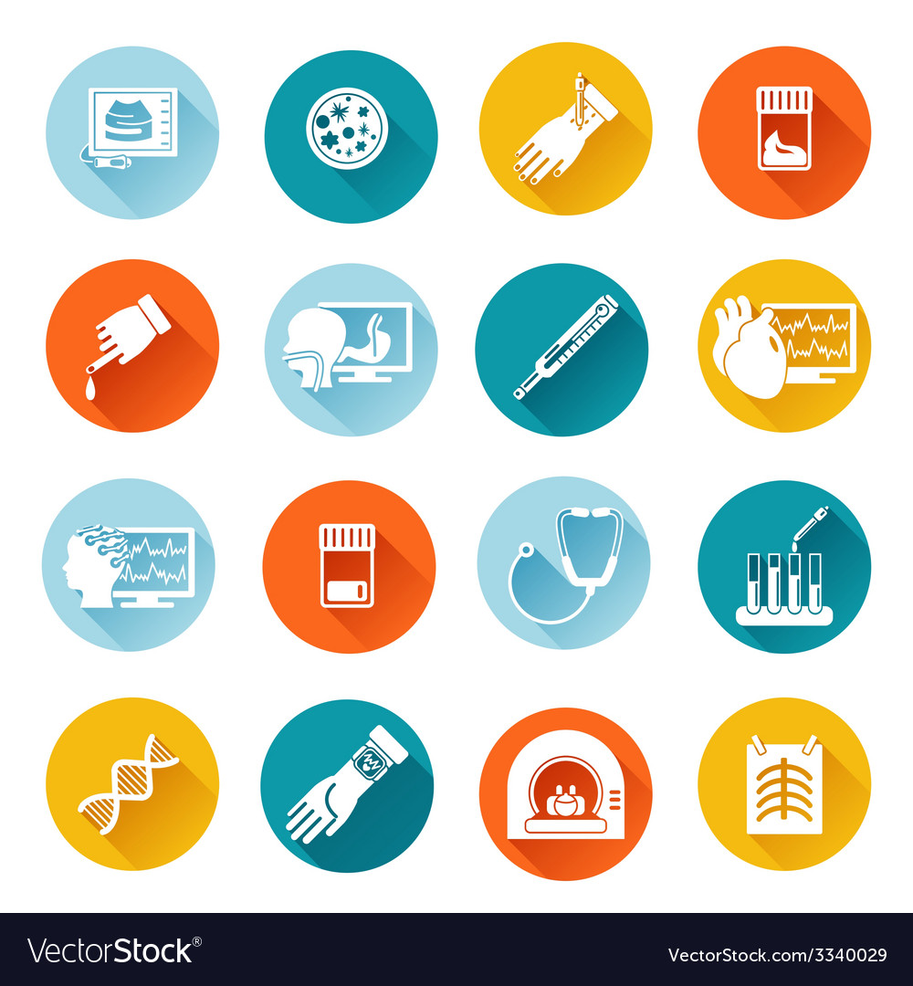 Medical tests icons flat vector | Price: 1 Credit (USD $1)