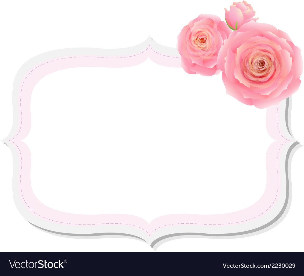 Pastel pink rose label vector | Price: 1 Credit (USD $1)