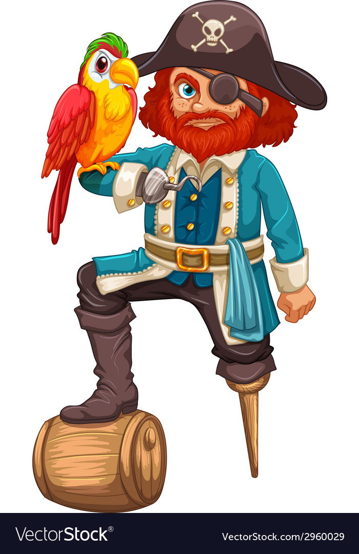 Pirate and parrot vector | Price: 1 Credit (USD $1)