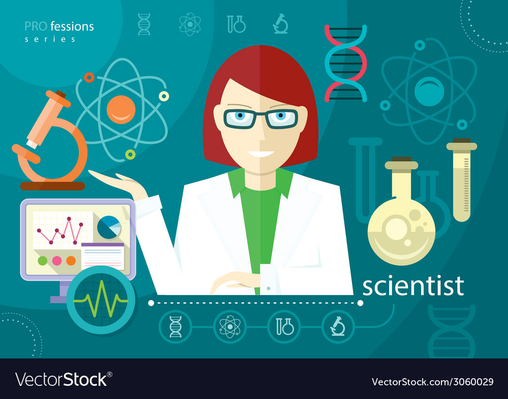 Profession scientist with icon elements of vector | Price: 1 Credit (USD $1)
