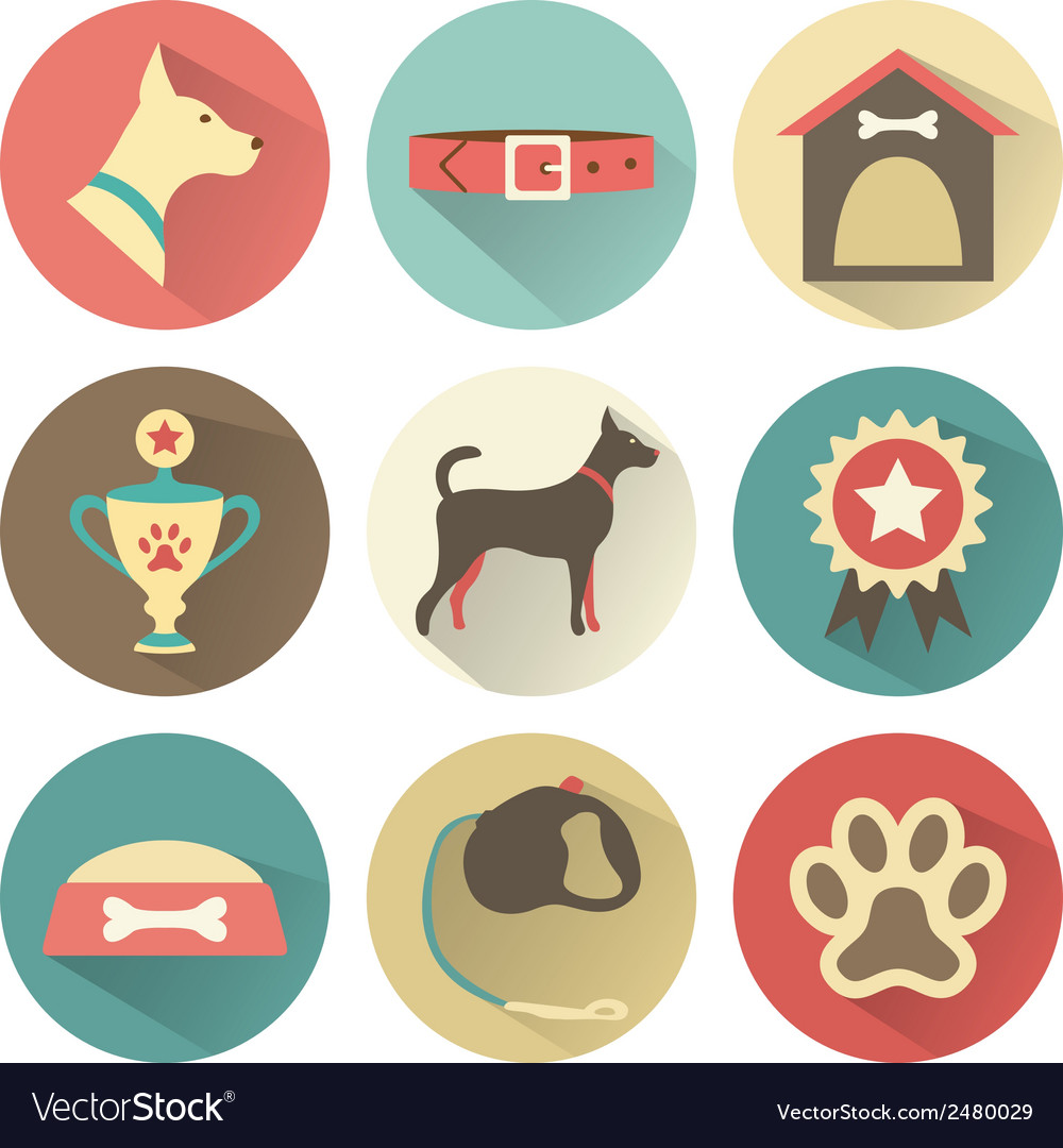 Retro dog icons set for web vector | Price: 1 Credit (USD $1)