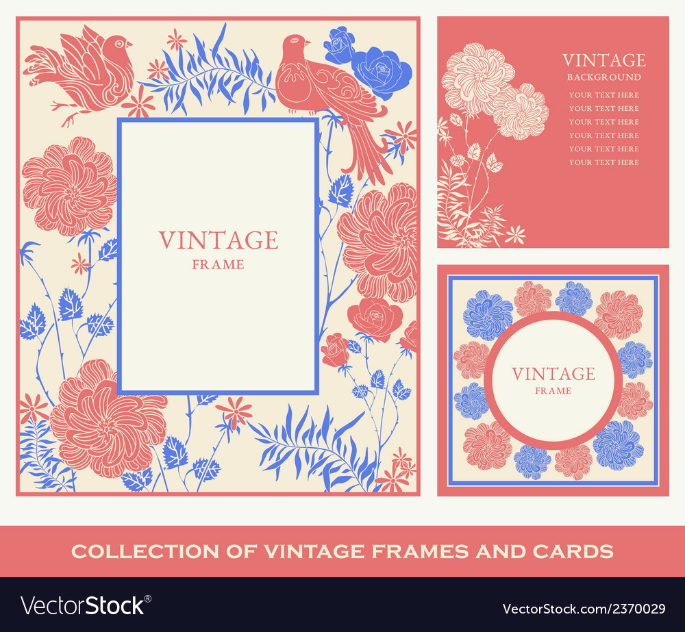 Retro frames invitation cards with birds flowers vector | Price: 1 Credit (USD $1)