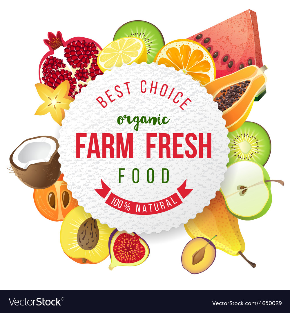 Round emblem with fresh fruits and type design vector | Price: 3 Credit (USD $3)