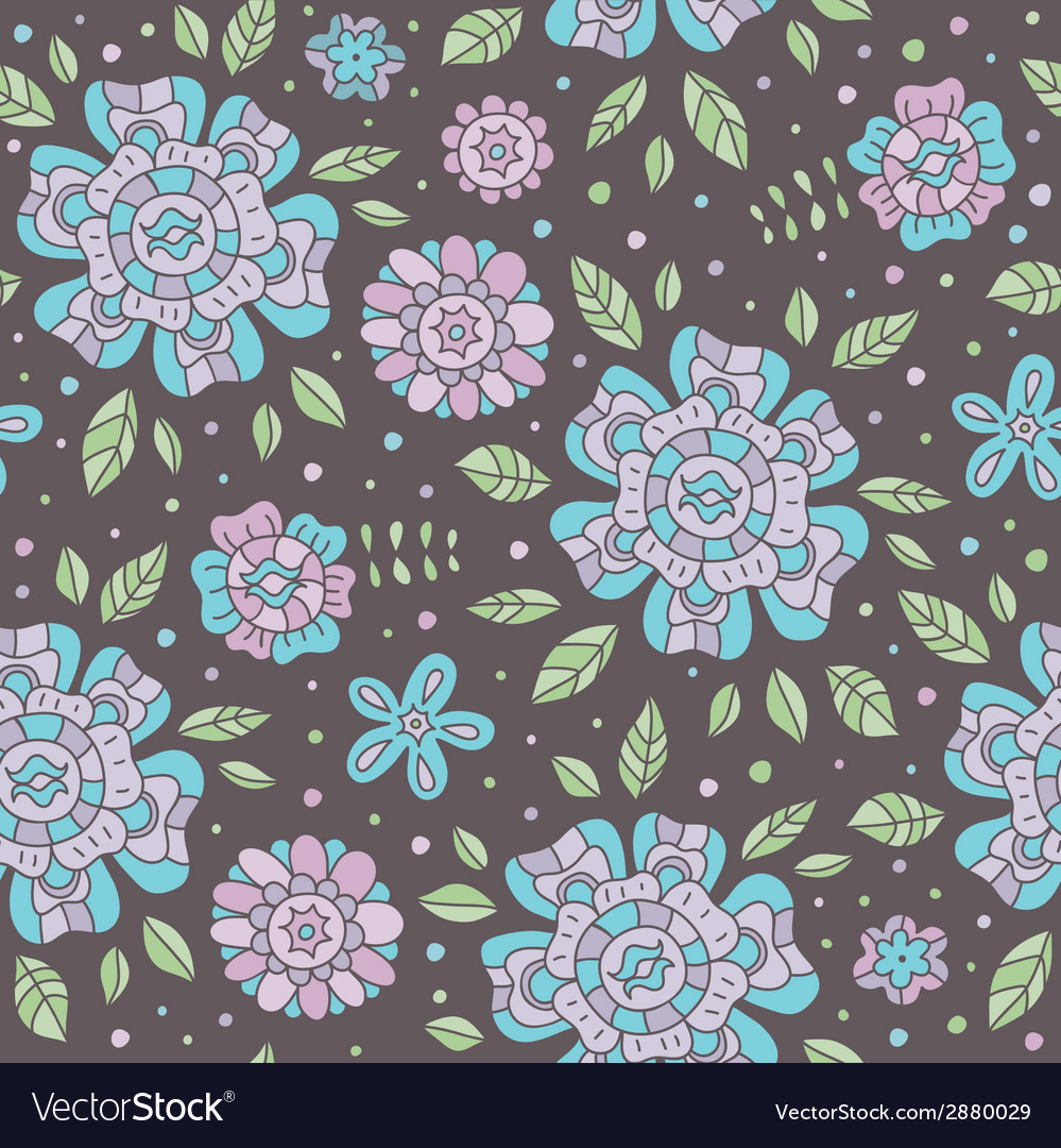 Seamless pattern with flowers vector   Price: 1 Credit (USD $1)