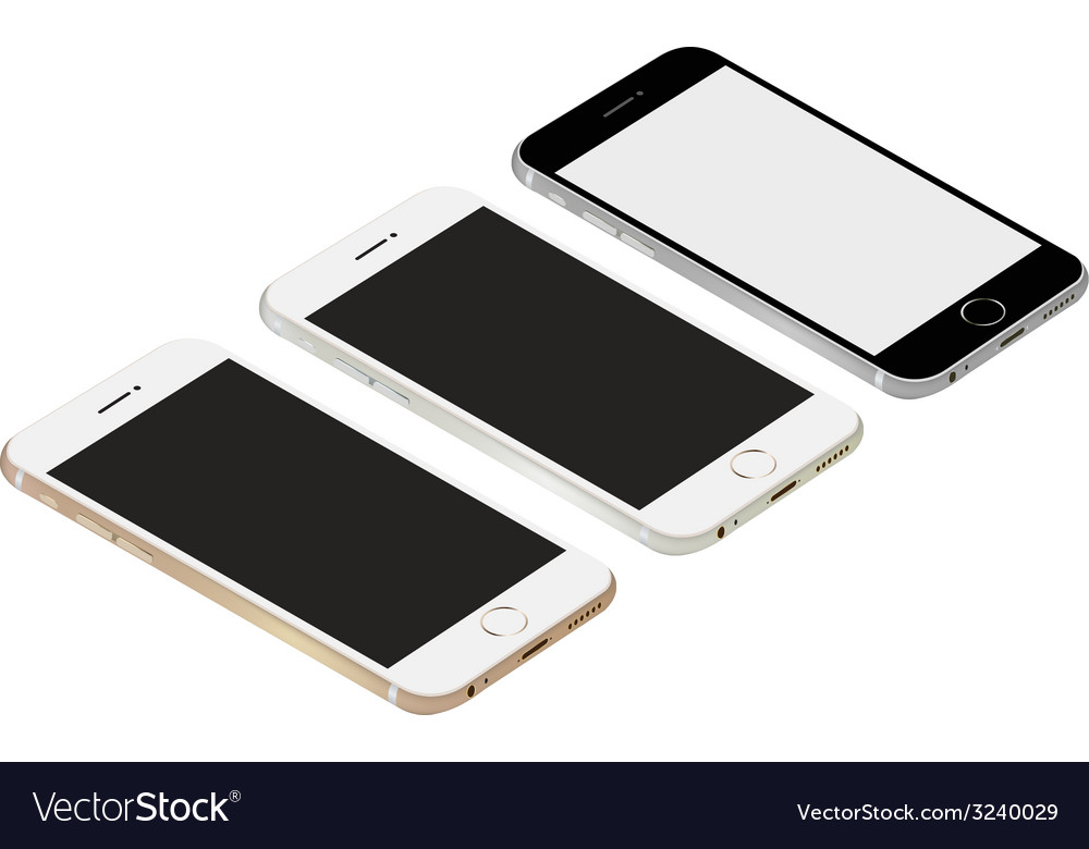 Smartphone realistic mockup set vector | Price: 1 Credit (USD $1)