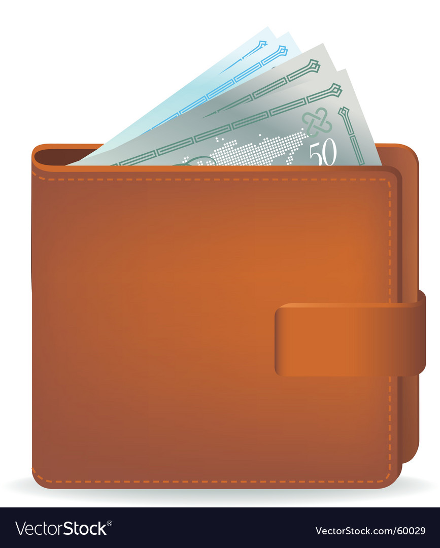 Wallet and cash vector | Price: 1 Credit (USD $1)